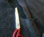 olive green coat cut up ready to felt